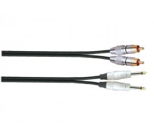 SoundKing R2MJ21 2 x TS-M 6.35mm Jack to 2 x RCA-M Signal Lead (1m)