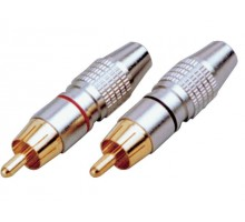 SoundKing RCAPMCBRH 2 PACK RCA-M Plug - Black & Red. Deluxe Metal
