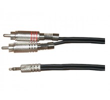 SoundKing SMJRCA23 TRS-M 3.5mm Jack to 2 x RCA-M Signal Lead (3m) (Ipod lead)