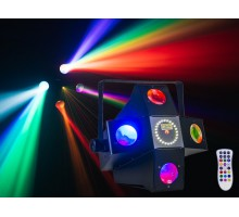 Event Lighting DARKSTAR 2 in 1 effect light, 5x (4x3W) R, B, G, W LED 5x lens Fat beams & 12x 1W white strobe, IR remote
