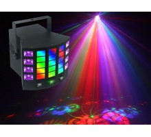 Light Emotion DERBY4 4-in-1 Lighting Effect: Gobo Derby, UV, Strobe and RG mini laser. Infra red control.