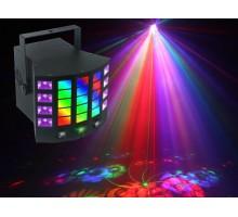 Light Emotion DERBY4 4-in-1 Lighting Effect: Gobo Derby, UV, Strobe and RG mini laser. Infra red control.