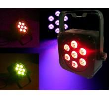 Light Emotion FLAT0307 LED Flat Wash Fixture 7x3W 3-in-1 LED RGB. Piggy back plug, double yoke.