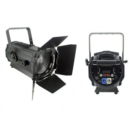 Light Emotion Professional FRES200CW 200w Cool White LED Fresnel with Barn Doors 15-55 degree zoom