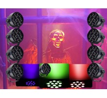 Light Emotion HALLOWEEN1 Halloween Pack - 4 RGB up lights, 4 UV up lights and Halloween Party Decorations