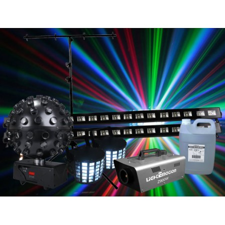 Light Emotion N186 Party Hard Pack package: 2 x derby2, 1 x ledball6, 1 x z900w, 1 x fog5h, 2 x uvbar, 1 x lts1b + more