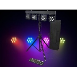 Light Emotion PARBAR3TRI LED Par Bar 28x3W 3-in-1 RGB LEDs w/ stand, foot controller, bag.