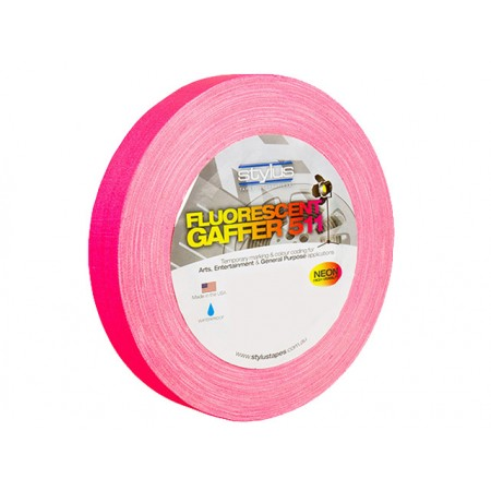 Stylus STY1FLURO PINK 511 Gaffer Tape Matt Finish Neon/Fluro Colours 24mm x 45 Metres [Colour: Pink]
