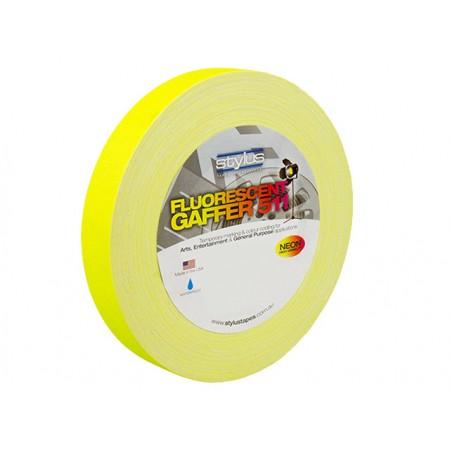 Stylus STY1FLURO YELLOW 511 Gaffer Tape Matt Finish Neon/Fluro Colours 24mm x 45 Metres [Colour: Yellow]