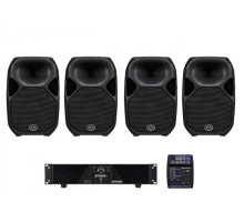 Wharfedale SVP3 Small Venue Pack 3 package: 4 x TITANX12P, 1 x CPD2600, 4 x MSMSSL10, 1 x CONNECT502USB, 4 x TITANWBB