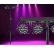Light Emotion VIVIDBAR Instant Light Show using 4 x Compact 12x3W RGB washes on stand. Controlled by IR remote