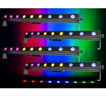 Colorband Hex 9 -1m LED Bar with 9 x 10W 6-in-1 RGBWAUV LED and DMX Package: 4 x CBANDHEX9